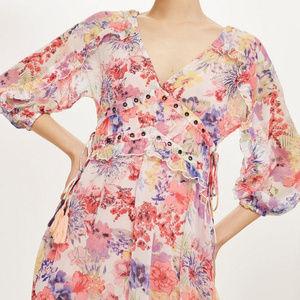 Topshop Eyelet Chiffon Floral Midi Dress